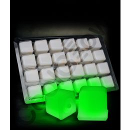 12 Units of Glowing Ice Cubes - Green - LED Party Supplies