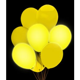 100 Units of LED 14 Inch Balloons- Yellow 5 Pack - LED Party Items