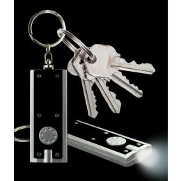 1000 Units of LED Flat Flashlight Key Chain- Black