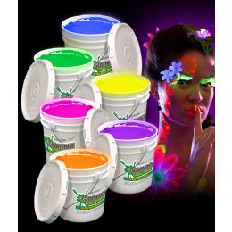 Glominex Glow Body Paint 128oz Buckets - Assorted - LED Party Items