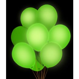 100 Units of LED 14 Inch Balloons - Green 5 Pack