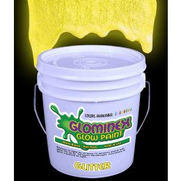 Glominex Glitter Glow Paint Gallon - Yellow - LED Party Items