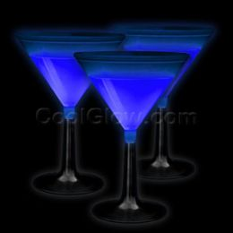 100 Units of Glow Martini Glass - Blue - LED Party Items