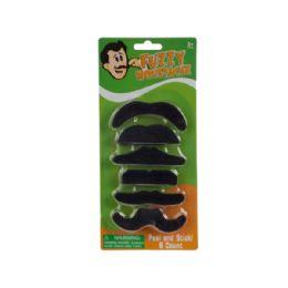 108 Units of Self-Adhesive Fuzzy Mustache Set - Novelty Toys