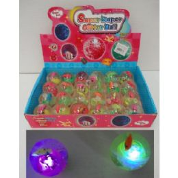 "144 Units of 2"" Light Up Bouncing Water Ball With FisH-2 Dozen Display Box - Light Up Toys"