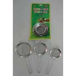 48 Units of 3 Piece Stainless Steel Strainer Set - Strainers & Funnels