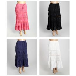 12 Units of Free Size Solid Color Maxi Skirt With Sequins - Womens Skirts