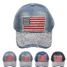 24 Units of American Flag Mixed Color Cap - Hats With Sayings