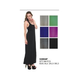 48 Units of WOMAN'S PLUS SIZE JERSEY MAXI DRESS - Womens Sundresses & Fashion