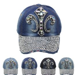 24 Units of Fleur De Lis Cap - Hats With Sayings