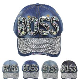 "24 Units of "" BOSS"" Printed Cap - Hats With Sayings"