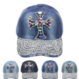 24 Units of Rhinestone Cross Cap - Hats With Sayings