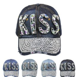 "24 Units of "" Kiss"" Cap - Hats With Sayings"