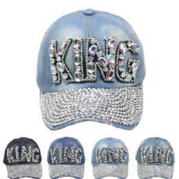 "24 Units of ""king"" Printed Cap - Hats With Sayings"