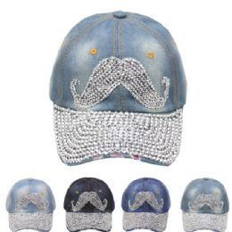 24 Units of Mustache Cap - Hats With Sayings