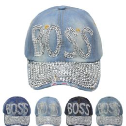 "24 Units of ""BOSS"" Printed Cap - Hats With Sayings"