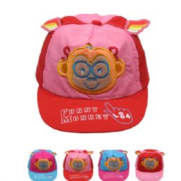 72 Units of Funny Monkey Kid Summer Hat - Hats With Sayings