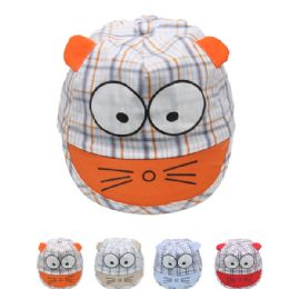 72 Units of Kid Summer Hat With Cat Face Assorted - Hats With Sayings