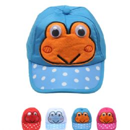 72 Units of Frog Kid Summer Hat, Assorted Colors - Hats With Sayings