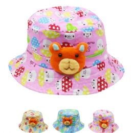 72 Units of KIDS TEDDY BEAR SUMMER HAT - Bucket Hats