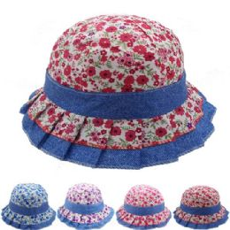 24 Units of KIDS DENIM SUMMER HAT WITH PRINTED FLOWER DESIGN - Bucket Hats