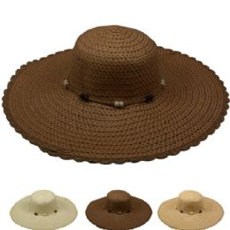 24 Units of Women's Straw Summer Hat In Assorted Color - Sun Hats