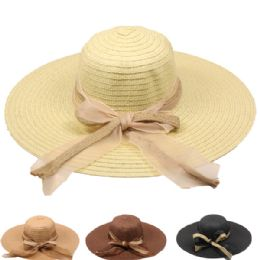 24 Units of Women's Solid Summer Hat With Bow Assorted - Sun Hats