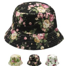 24 Units of Women's Floral Summer Hat Assorted - Sun Hats