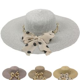 24 Units of Women's Summer Hat With Polka Dot Bow - Sun Hats