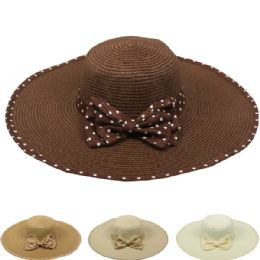 24 Units of Womans Summer Hat With Polka Dot Bow - Sun Hats