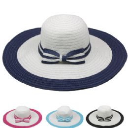 24 Units of Women's Summer Hat With Striped Bow - Sun Hats