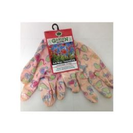 72 Units of Printed Pattern Garden Gloves With Latex Grip - Gardening Gloves