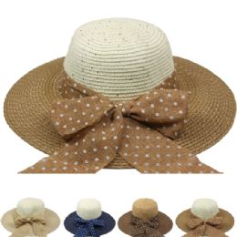 24 Units of Women's Two Toned Summer Hat With Bow - Sun Hats