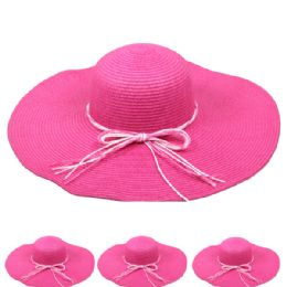 24 Units of Women's Straw Summer Hat In Pink - Sun Hats
