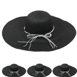 24 Units of Women's Straw Summer Hat In Black - Sun Hats