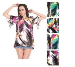 72 Units of Womens Fashion Printed Blouse - Womens Sweaters & Cardigan