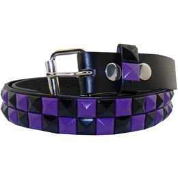 36 Units of Kids Studded Belts In Black And Blue - Unisex Fashion Belts