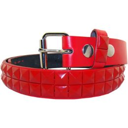 36 Units of Kids Studded Belts In Red - Unisex Fashion Belts