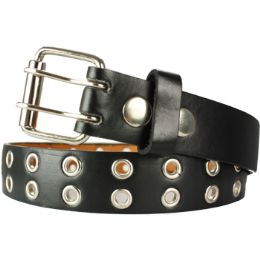36 Units of Kids Studded Belts In Black - Unisex Fashion Belts