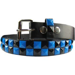36 Units of Kids Studded Belts In Blue And Black - Kid Belts
