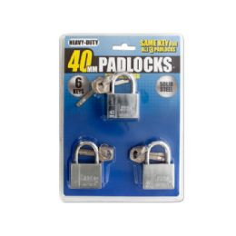 6 Units of Keyed Alike Chrome Finish Steel Padlocks - Padlocks and Combination Locks