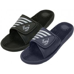 36 Units of Boy's Velcro With Massage In Sole Shower Slides - Boys Flip Flops & Sandals