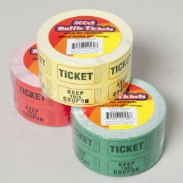 48 Units of 500 Count 2x2 Inch Raffle Ticket - Party Favors
