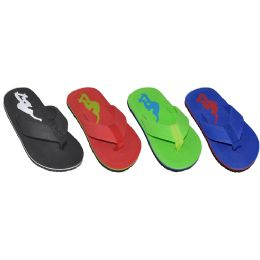 48 Units of Boys Assorted Color Printed Logo Flip Flop - Boys Flip Flops & Sandals
