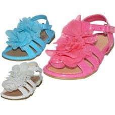 24 Units of Toddlers Silk Mesh Flower Top Sandals - Toddler Footwear