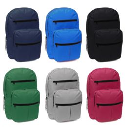 "24 Units of 18 Inch Assorted Color Backpack With Many Pockets - Backpacks 18"" or Larger"