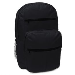 "24 Units of Black 18 Inch Backpack With Unique Design That Features Two Large Covered Zipper Closure Compartments - Backpacks 18"" or Larger"