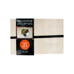 12 Units of Decorative Bamboo Look Woven Placemat Set - Placemats