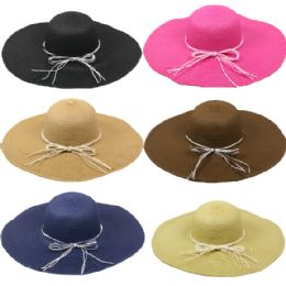 24 Units of Women's PLAIN COLOR STRAW WOMEN'S SUMMER HAT - Sun Hats