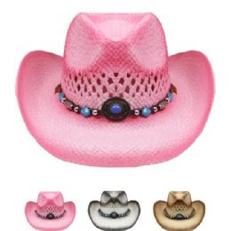 24 Units of Western Style Straw Cowboy Hat Assorted Colors - Cowboy & Boonie Hat